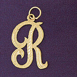 Initial R Classic Charm Bracelet or Pendant Necklace in Yellow, White or Rose Gold DZ-9559r by Dazzlers
