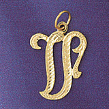 Initial V Classic Charm Bracelet or Pendant Necklace in Yellow, White or Rose Gold DZ-9559v by Dazzlers