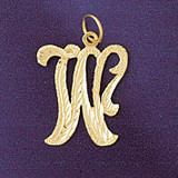Initial W Classic Charm Bracelet or Pendant Necklace in Yellow, White or Rose Gold DZ-9559w by Dazzlers
