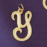 Initial Y Classic Charm Bracelet or Pendant Necklace in Yellow, White or Rose Gold DZ-9559y by Dazzlers