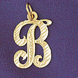 Initial B Classic Charm Bracelet or Pendant Necklace in Yellow, White or Rose Gold DZ-9560b by Dazzlers