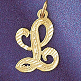 Initial L Classic Charm Bracelet or Pendant Necklace in Yellow, White or Rose Gold DZ-9560l by Dazzlers