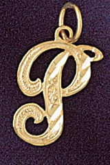 Initial P Classic Charm Bracelet or Pendant Necklace in Yellow, White or Rose Gold DZ-9560p by Dazzlers