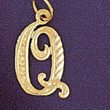 Initial Q Classic Charm Bracelet or Pendant Necklace in Yellow, White or Rose Gold DZ-9560q by Dazzlers