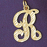 Initial R Classic Charm Bracelet or Pendant Necklace in Yellow, White or Rose Gold DZ-9560r by Dazzlers