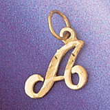 Initial A Charm Bracelet or Pendant Necklace in Yellow, White or Rose Gold DZ-9564a by Dazzlers