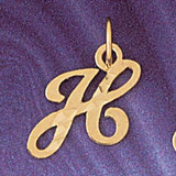 Initial H Charm Bracelet or Pendant Necklace in Yellow, White or Rose Gold DZ-9564h by Dazzlers