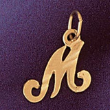 Initial M Charm Bracelet or Pendant Necklace in Yellow, White or Rose Gold DZ-9564m by Dazzlers