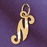 Initial N Charm Bracelet or Pendant Necklace in Yellow, White or Rose Gold DZ-9564n by Dazzlers