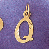 Initial Q Charm Bracelet or Pendant Necklace in Yellow, White or Rose Gold DZ-9564q by Dazzlers