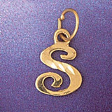 Initial S Charm Bracelet or Pendant Necklace in Yellow, White or Rose Gold DZ-9564s by Dazzlers