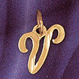 Initial V Charm Bracelet or Pendant Necklace in Yellow, White or Rose Gold DZ-9564v by Dazzlers