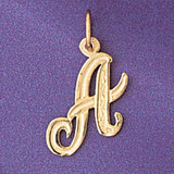 Initial A Charm Bracelet or Pendant Necklace in Yellow, White or Rose Gold DZ-9565a by Dazzlers