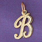 Initial B Charm Bracelet or Pendant Necklace in Yellow, White or Rose Gold DZ-9565b by Dazzlers