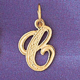Initial C Charm Bracelet or Pendant Necklace in Yellow, White or Rose Gold DZ-9565c by Dazzlers