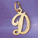 Initial D Charm Bracelet or Pendant Necklace in Yellow, White or Rose Gold DZ-9565d by Dazzlers