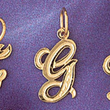 Initial G Charm Bracelet or Pendant Necklace in Yellow, White or Rose Gold DZ-9565g by Dazzlers