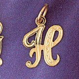 Initial H Charm Bracelet or Pendant Necklace in Yellow, White or Rose Gold DZ-9565h by Dazzlers