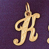 Initial K Charm Bracelet or Pendant Necklace in Yellow, White or Rose Gold DZ-9565k by Dazzlers