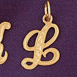 Initial L Charm Bracelet or Pendant Necklace in Yellow, White or Rose Gold DZ-9565l by Dazzlers