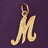 Initial M Charm Bracelet or Pendant Necklace in Yellow, White or Rose Gold DZ-9565m by Dazzlers