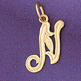 Initial N Charm Bracelet or Pendant Necklace in Yellow, White or Rose Gold DZ-9565n by Dazzlers