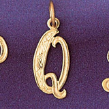 Initial Q Charm Bracelet or Pendant Necklace in Yellow, White or Rose Gold DZ-9565q by Dazzlers