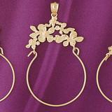 Rose Flower Holder Pendant Necklace Charm Bracelet in Gold or Silver 4263