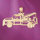 Towing Truck Charm Bracelet or Pendant Necklace in Yellow, White or Rose Gold DZ-4317 by Dazzlers