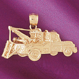 Towing Truck Charm Bracelet or Pendant Necklace in Yellow, White or Rose Gold DZ-4319 by Dazzlers