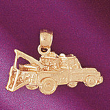 Towing Truck Charm Bracelet or Pendant Necklace in Yellow, White or Rose Gold DZ-4320 by Dazzlers