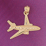 Airplane Jet Pendant Necklace Charm Bracelet in Gold or Silver 4424