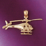 Helicopter Pendant Necklace Charm Bracelet in Gold or Silver 4452