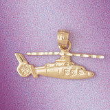 Helicopter Pendant Necklace Charm Bracelet in Gold or Silver 4461