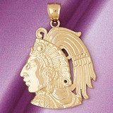 Mayan Warrior Pendant Necklace Charm Bracelet in Gold or Silver 4816
