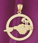 Catalina Island Pendant Necklace Charm Bracelet in Gold or Silver 4857
