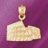 Colosseum In Rome Pendant Necklace Charm Bracelet in Gold or Silver 4932