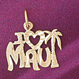 Maui Hawaii Pendant Necklace Charm Bracelet in Gold or Silver 4969