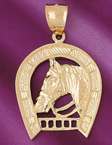 Lucky Horseshoe Pendant Necklace Charm Bracelet in Gold or Silver 5123