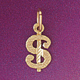 Dollar Sign Pendant Necklace Charm Bracelet in Gold or Silver 5408