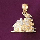 Christmas Tree 3D Charm Bracelet or Pendant Necklace in Yellow, White or Rose Gold DZ-5479 by Dazzlers