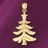 Christmas Tree Charm Bracelet or Pendant Necklace in Yellow, White or Rose Gold DZ-5482 by Dazzlers