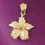 Christmas Bell Charm Bracelet or Pendant Necklace in Yellow, White or Rose Gold DZ-5539 by Dazzlers