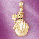 Christmas Snowman Charm Bracelet or Pendant Necklace in Yellow, White or Rose Gold DZ-5547 by Dazzlers