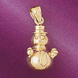 Christmas Snowman Pendant Necklace Charm Bracelet in Gold or Silver 5551