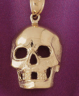 Skull Pendant Necklace Charm Bracelet in Gold or Silver 5592
