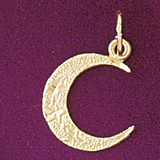 Moon Charm Bracelet or Pendant Necklace in Yellow, White or Rose Gold DZ-5630 by Dazzlers