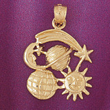 Earth Sun Moon Star Charm Bracelet or Pendant Necklace in Yellow, White or Rose Gold DZ-5684 by Dazzlers