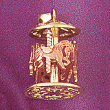 Carousel Horses Pendant Necklace Charm Bracelet in Gold or Silver 5968