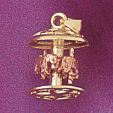 Carousel Horses Pendant Necklace Charm Bracelet in Gold or Silver 5969